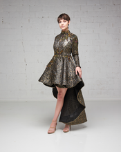 Bronze Damask Beaded Hi-Lo Dress