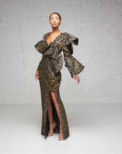 Bronze Print Damask Ruffle Dress