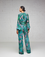 Heavily Beaded Green and Pink Print Jumpsuit