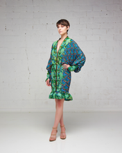 Heavily Beaded Print Green Dress