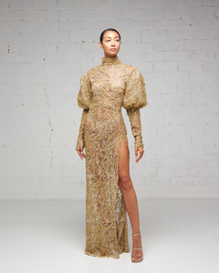 Gold Beaded/Embroidered Slit Dress