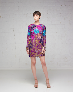 Multi-Colored Floral Beaded Shirt Mini Tunic
