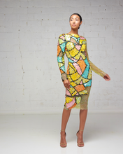 Multi-Colored Peekaboo Beaded and Sequin Midi Dress