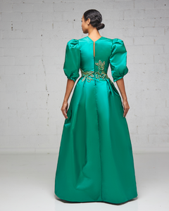 Green Silk Taffeta A Line Pleated Gown