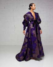 Textured Metallic Purple Damask Swing Jacket