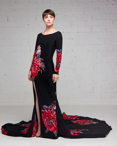 Black Stretch Print Silk Jersey Gown