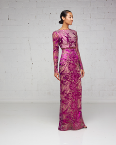 Purple Long Sleeve Lace Fitted Floor Length Dress