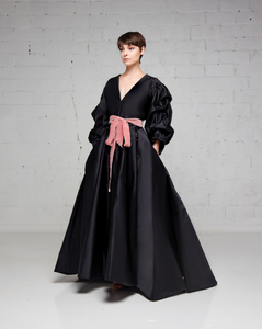 Black Duchess Silk Top and Skirt Belted Garment