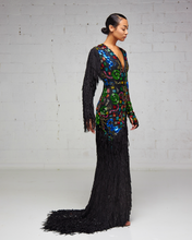 Heavily Beaded and Fringe Multi-Colored Slit Dress