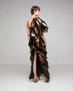 Black and Gold Damask One Shoulder Dress
