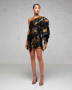 Black and Gold Damask One Sleeve Mini Dress