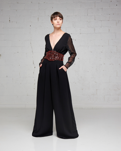 Black Sheer Sleeve Beaded Jumpsuit