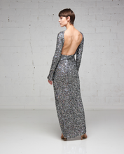 Silver Flake Sequin Slit Dress