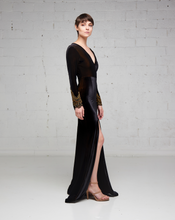 Black Stretch Velvet Long Sleeve Slit Dress