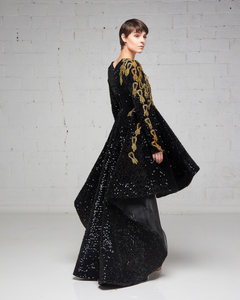 Black and Gold Sequin Velvet Hi-Lo Dress