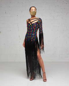 Heavily Beaded and Fringe Multi-Colored One Shoulder Dress