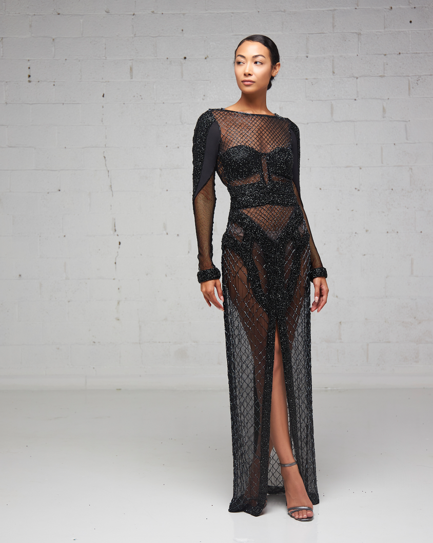 Black Heavily Beaded Sheet Peekaboo Dress