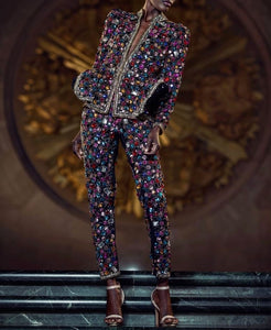 Pre-Order - Multi-Color Glass Stones and Sequin Hand Beaded Peplum Pantsuit