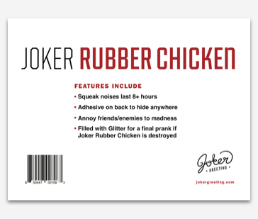 Plays random and intermittent Rubber Chicken noises. Use the adhesive on back to stick nearly anywhere. Remove the tab, press play, and walk away.