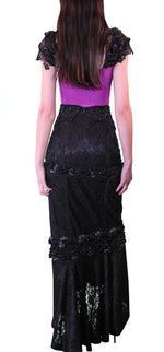 Black Long Skirt with Embellished Trims