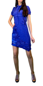 Blue Embellished Mini Shirt-Dress with Asymmetric Front Hem