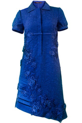Blue Asymmetric Mini Shirt-Dress