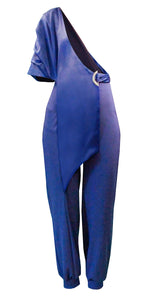 Blue One Shoulder Jumpsuits