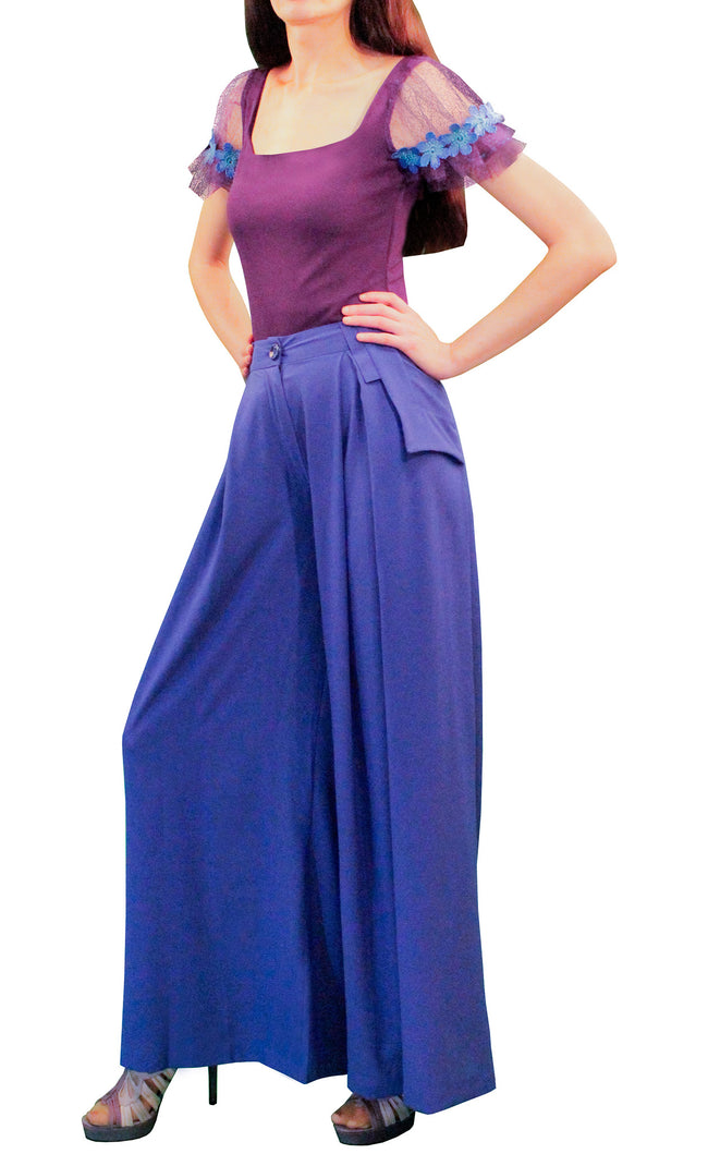 blue palazzo pants, high waisted belted trousers