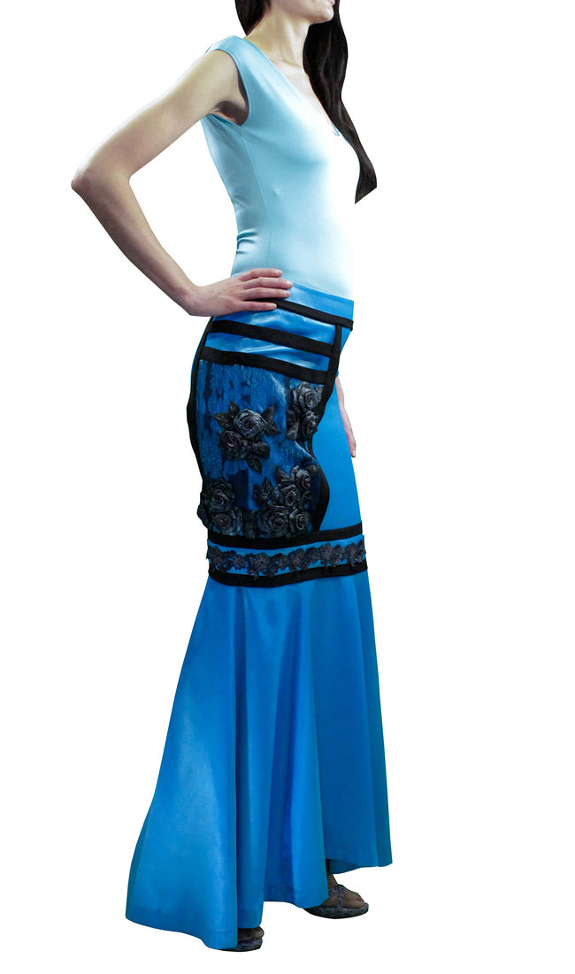 Buy theWomen Skirts, Cyan Blue Maxi Satin Skirt
