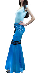 Buy the Women Skirts, Cyan Blue Maxi  Satin Skirt