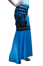 Buy the Women Skirts, Cyan Blue Maxi Skirt with embellishments