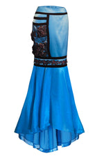 Buy the Women Skirts, Blue Maxi Satin Skirt