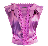 Lissy Geometric Silk Satin Tops