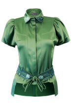 Fashion Women Green Silk Satin Shirt