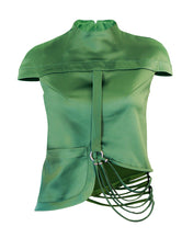 Green Stretch-Satin Top