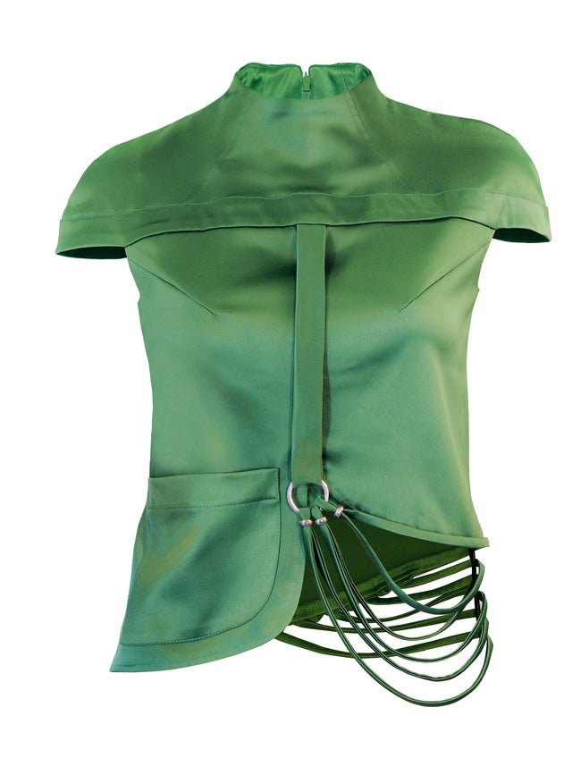 Women Tops, Green Stretch Satin Top