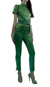 Green Stretch Satin Skinny Trousers