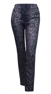 Metallic Painted Smokey Plum Silky Jacquard Trousers