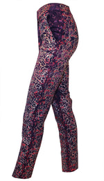 Women Trousers, Metallic Painted Purple Silky Jacquard Trousers