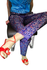 Women Trousers, Metallic Painted Purple Silky Jacquard Trouser