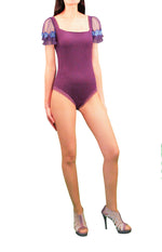 Women Bodysuits,Purple Stretch Crepe-Jersey Bodysuits