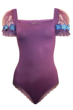 Women Bodysuits, Purple Stretch Crepe-Jersey Bodysuits