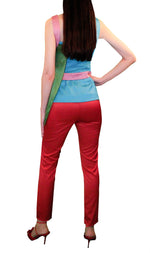 Women Trousers, Red Skinny Satin Trousers