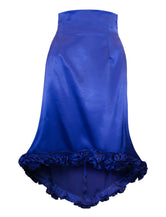 Royal Blue High-Waist Silk Satin Skirt