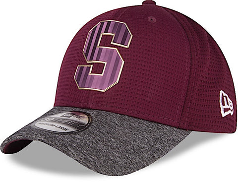 Saprissa Gorra 39THIRTY M/L Morada y Gris Shadow Tech de New Era