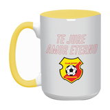 "Taza color interno amarillo ""Te juro amor eterno"" 15 oz"