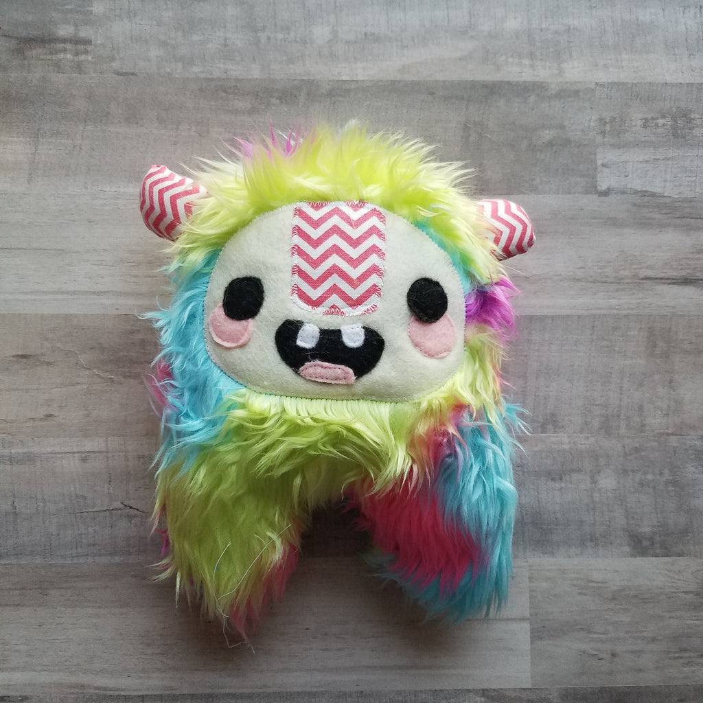 Rain- a pastel rainbow monster plush