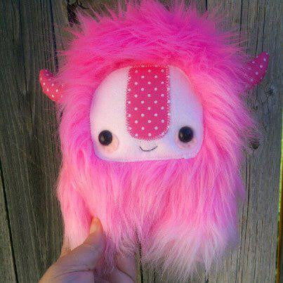 cute monster plush, stuffed Yeti, pink ombre, limited edition