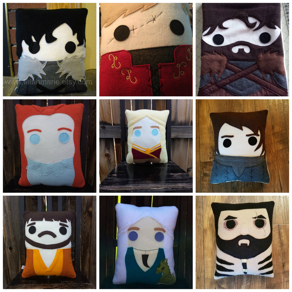 Game of Thrones, character pillow, jon snow, danerys, khal drogo,
