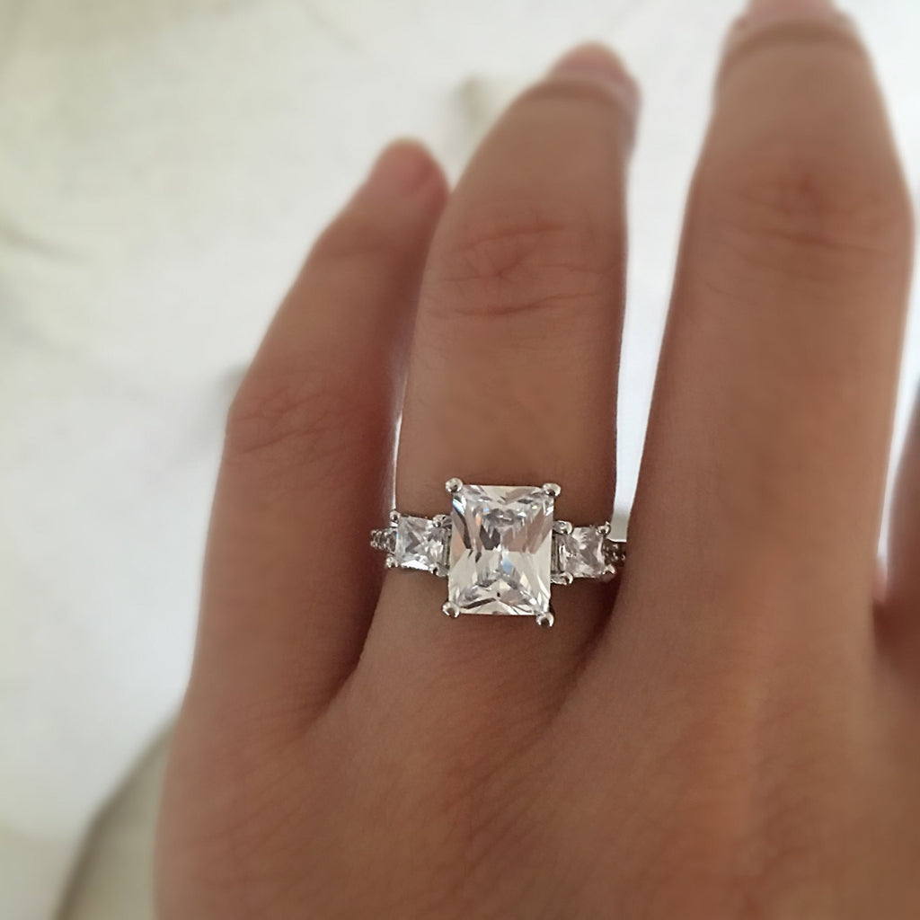 Emerald Cut, Rectangle Engagement Ring, Wedding Ring, Promise Ring, Simulated  Diamond 3